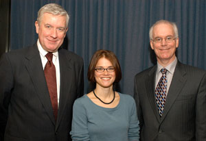 Walsh scholarship winner Kira Bindrim flanked by Robert Grimes, S.J., dean of Fordham College at Lincoln Center (left), and Brennan O'Donnell, Ph.D., dean of Fordham College at Rose Hill. Photo by Ken Levinson