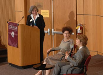 Moderator Margaret Steinfels, Ph.D., co-director of the Fordham Center on Religion and Culture, and filmmaker Barbara Freed, Ph.D., listen to Patricia Hampl, Ph.D., discuss Henri Matisse. Photo by Leo Sorel