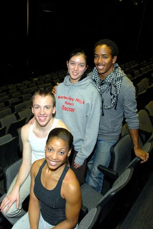 Amy McClendon, Jordan McHenry, Joanna Poz-Molesky and Daniel Harder are students in the Ailey/Fordham BFA program in dance.  Photo by Ken Levinson