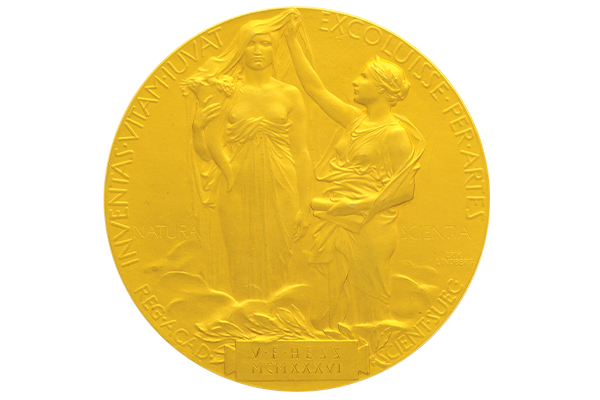 "Opposite: The Latin inscription on the back of Hess' Nobel medal, loosely translated, reads: ""And they who bettered life on earth by their newly found mastery."""