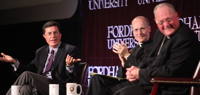 (from left) Stephen Colbert, James Martin, S.J., and Timothy Cardinal Dolan
