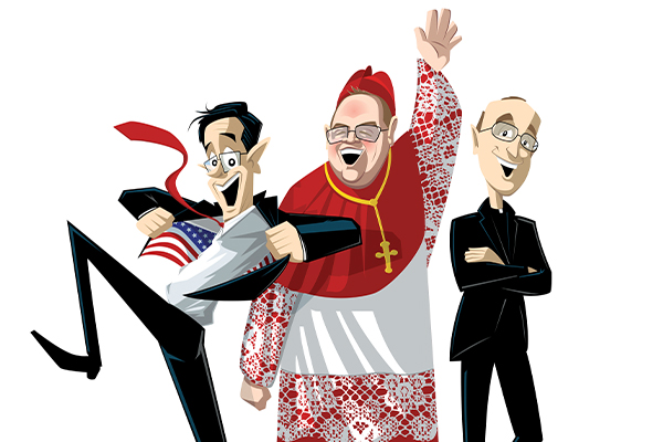 Stephen Colbert, Timothy Cardinal Dolan, and James Martin, S.J., as illustrated by Fordham visual arts student Tim Luecke.