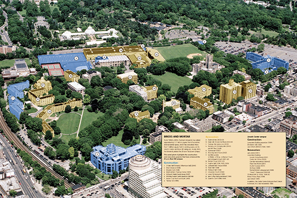 This aerial photo highlights the construction and renovation projects that have enhanced the 85-acre Rose Hill campus.