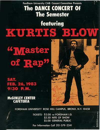 A flyer for Kurtis Blow at Rose Hill