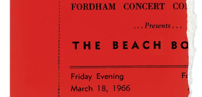 A ticket stub from the 1966 Beach Boys concert on the Rose Hill campus