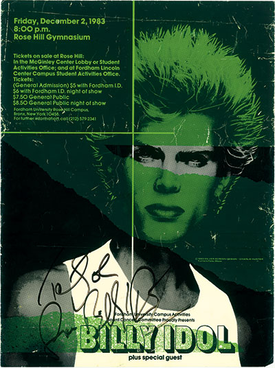 A flyer for Billy Idol's concert at Rose Hill
