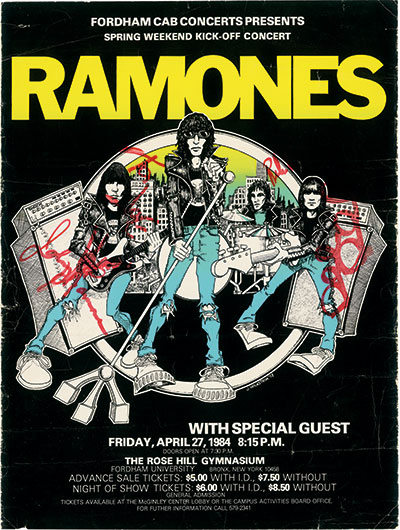 A flyer for The Ramones' concert at Rose Hill