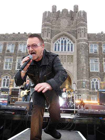 U2's Bono performing in front of Keating