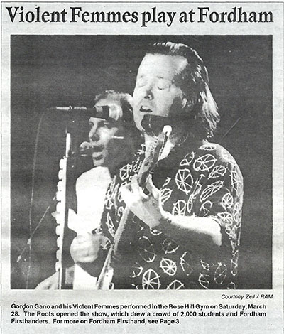 "A picture of The Violent Femmes which appeared in ""The Ram"" after their concert"