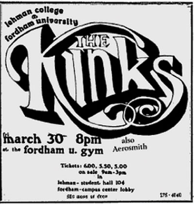 An ad for The Kinks and Aerosmith at Rose Hill