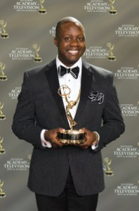 Clarence Ball and his Emmy. Photo by Tommy Rozen