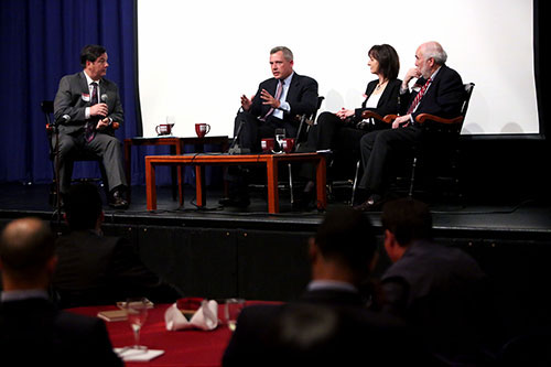 From left: Thomas Maier, Michael J. Bowe, Julie Gebauer, and Thomas E. Kelly III (Photo by Bruce Gilbert)