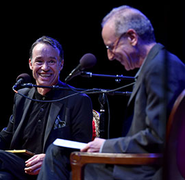 Theatre critic Ben Brantley shared stories with Randy Cohen (right) on the popular podcast, Person, Place, Thing, filmed live at Fordham on Oct. 13. Photo: Dana Maxson.