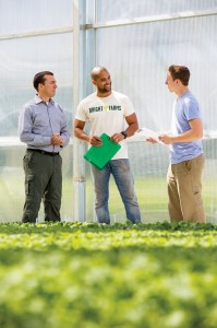 From left: BrightFarms' CEO Paul Lightfoot with Carlos Mendez, head grower at the company's Pennsylvania greenhouse, and Dominick Mack, production manager. (Photo by Bud Glick)