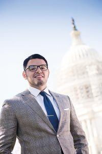 Fordham senior Kevin Flores, a former Marine embassy guard, is interning with the Congressional Hispanic Caucus in Washington, D.C., this fall. (Photo by Bill Denison)