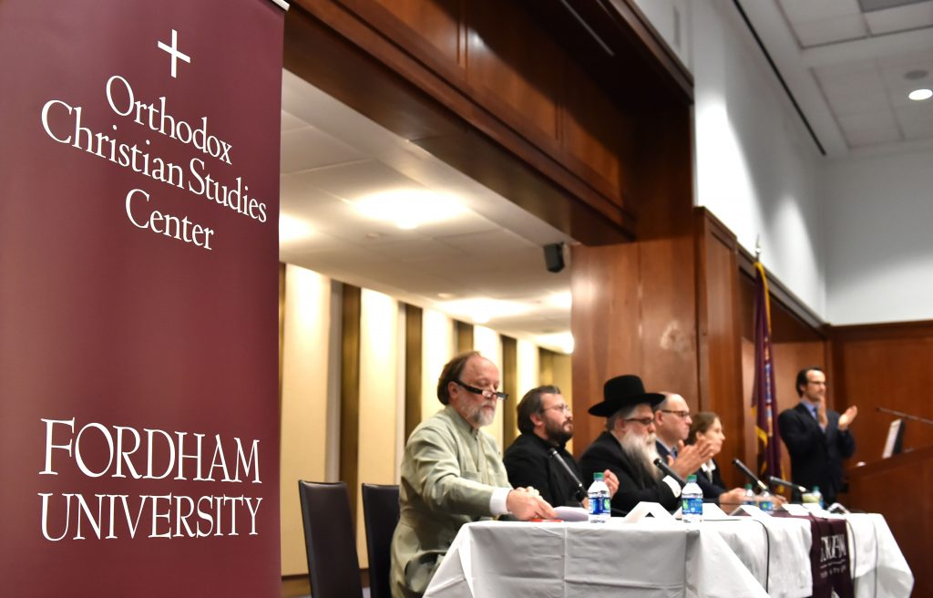 "An international panel of experts discussed ""Putin, Religion, and Ukraine"" at Fordham on Nov. 4 (Photo by Dana Maxson)"