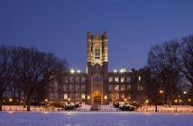 Keating Hall in the snow at Christmas.
