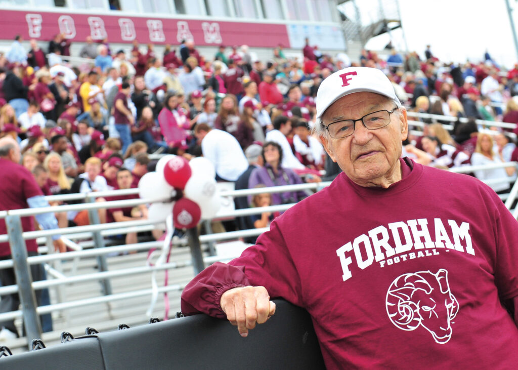 Andy Lukac, FCRH '51, captain of one of the best football teams Fordham ever fielded, was among the former players honored at halftime of Fordham's 2014 Homecoming game. (Photo by Chris Taggart)