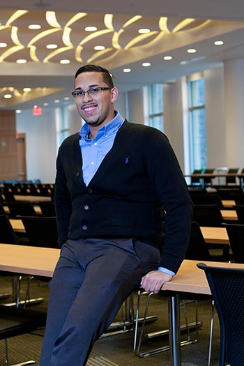 HEOP graduate John Loubriel, FCLC '12, is in his second year at Fordham Law School. (Photo by Jill LeVine)