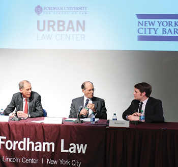 From left to right, Hon. Thomas Farley, Peter Zimroth, and Brian Elbel, assistant professor of medicine and health policy at NYU. Panelists debated the legacy of Mayor Michael Bloomberg. Photo by Chris Taggart