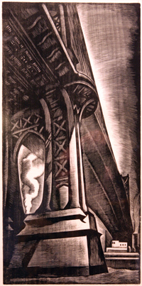 """Howard Cook, """"Manhattan Bridge,"""" 1930. Wood engraving. Fordham University Archives and Special Collections, President's Print Collection."""