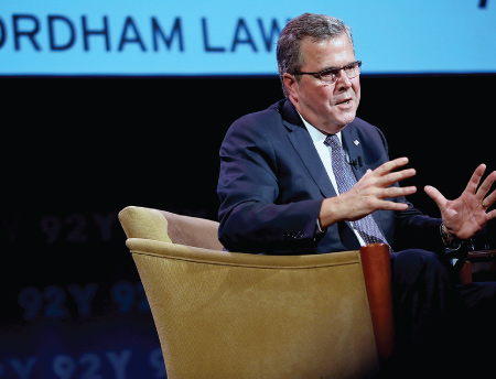 Immigration reform is the key to both the nation's and the Republican Party's future, Jeb Bush told a capacity crowd on Nov. 18, 2013.  Photo by Bruce Gilbert