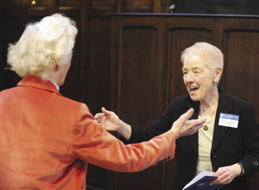 Brigid Driscoll, R.S.H.M., president emerita of Marymount College (right), greets Eugenie F. Doyle, M.D. (MC '43). Photo by Chris Taggart