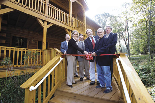 The 3,800-square-foot log cabin-style residence at the Calder Center opened on Sept. 21. Photo by Bruce Gilbert