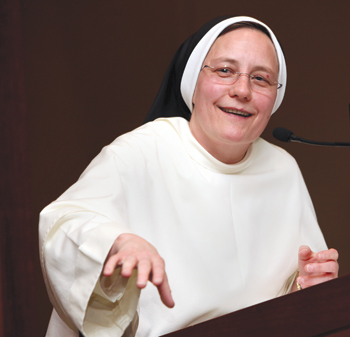 Sister John Mary Fleming, executive director of the Secretariat of Education of the U.S. Conference of Catholic Bishops, offered the keynote address at the 19th annual Catholic School Executive Leadership dinner.  Photo by Bruce Gilbert
