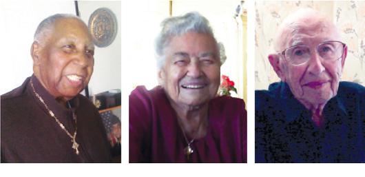 Junius Barber (left), Rose Franzone and Stanley Kaufman are participants in Daniela Jopp's centenarian study to determine successful aging.  Photos courtesy of Daniela Jopp