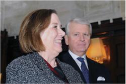 Barbara Hilkert Andolsen, the Buckman chair, with benefactor James Buckman.