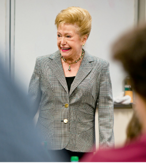 Mary Higgins Clark chats with English professor Mary Bly's class at the Lincoln Center campus in March 2012.  Photo by Bud Glick