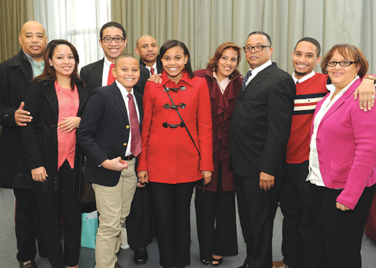 Sursum Corda winner Carlos Beltre, third from from right, with his family. Photos by Chris Taggart