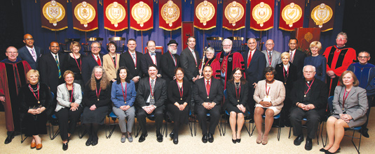 The 31 recipients of the Archbishop Huges Medal for Service, the Bene Merenti medal, and the Sursum Corda award, were recognized at the 2013 Fordham University Convocation on March 3. (All honorees are listed below.) Photo by Bruce Gilbert