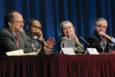 Robert Kuttner, Robert A. George, Susan Jacoby, and E.J. Dionne, Jr. discuss what really controls American politics. Photo by Leo Sorel