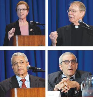 Top left, Susan Martin; top right, Kenneth Gavin, S.J.; bottom left, Masood Hyder; bottom right David Reiff.  Photos by Leo Sorel