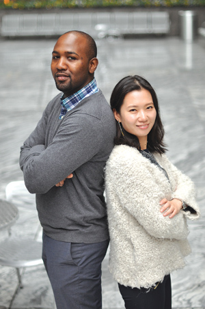 Peebles and Qianqian Si talk cultural awareness among students.  Photo by Tom Stoelker