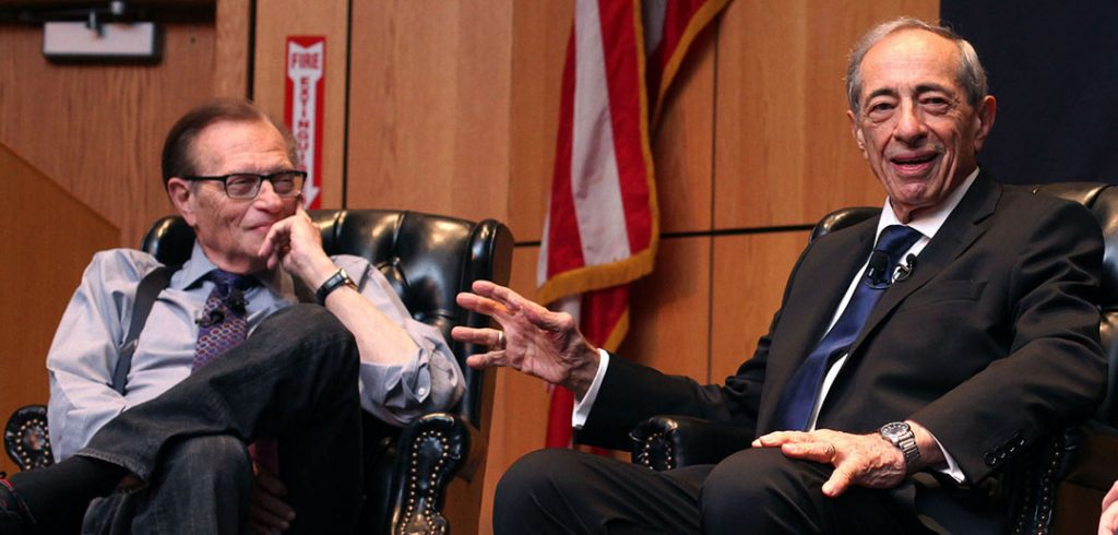 Former governor Mario Cuomo met with Larry King at Fordham Law in October 2013. (Photo by Bruce Gilbert)