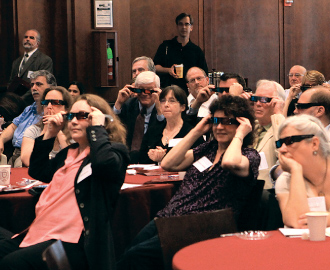 Faculty donned 3D glasses for a presentation that showed how NYPL digitized 19th-century stereoscopic photography. Photo by Tom Stoelker