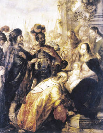 The Adoration of the Magi by Cristóbal de Villalpando is one of 350 images in the Web-based VISTAS: Visual Culture in Spanish America 1520-1820.  Photo by Barbara Mundy, Ph.D.