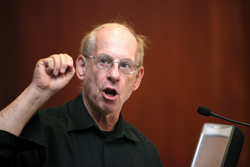Stephen Krashen, Ph.D., cites research suggesting that access to books can counteract poverty's effects on reading achievement.  Photo by Bruce Gilbert
