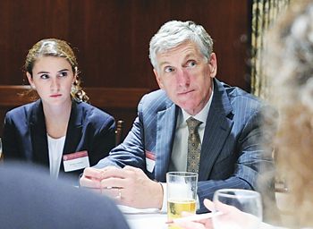Gabelli School of Business senior Bridget Dalton and Brian MacLean, FCRH '75, President's Council chairman, participate in a roundtable discussion at the Fall Executive Leadership Series. Photo by Chris Taggart
