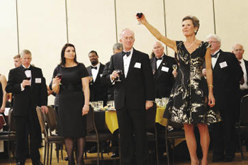 The Hon. Loretta Preska (LAW '73) delivers a toast to open the gala dinner on the night before the Fordham-Army game. Photo by Chris Taggart