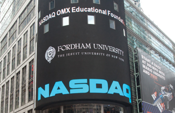 """It is incumbent upon a school of business—especially a school of business in an international financial center—to make a global curriculum a strategic priority. We give credit to NASDAQ OMX for recog­nizing that need, and for helping Fordham fill it."""