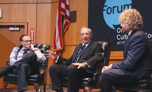 Larry King, Mario Cuomo, and Thane Rosenbaum debate The Godfather on Oct. 20 at Fordham School of Law. Photo by Bruce Gilbert