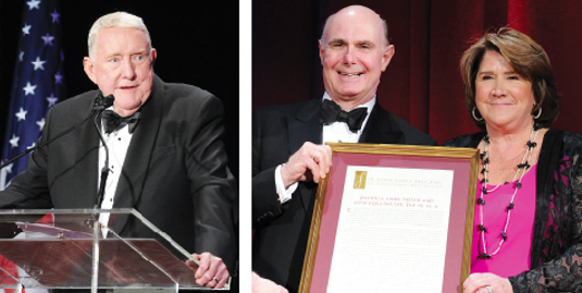 "Left: E. Gerald Corrigan, Ph.D., said his Fordham education was fundamental to his success.  Right: Chicago residents Patricia Anne Heller (right) and her husband John Ryan Heller (left), said that New York has become their ""second home,"" thanks to Fordham."