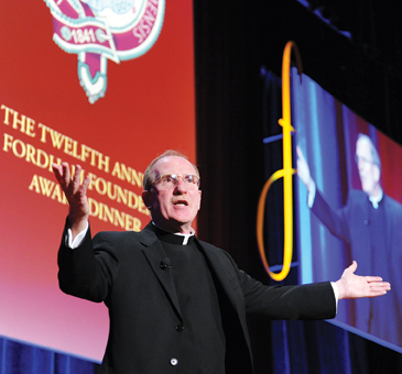 """Fordham President Joseph M. McShane, S.J., said that this year's Founder's honorees have helped transform the world through their """"everyday lives."""" Photos by Chris Taggart"""