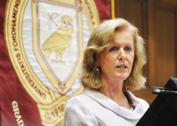 U.N. Ambassador Anne Anderson gave the spring Gannon Lecture on April 18.  Photo by Chris Taggart