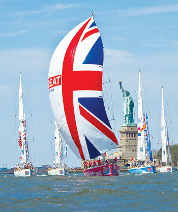As the Clipper fleet passed through New York harbor, Fordham's GBA announced a joint venture, World Program, with Clipper Ventures and others to teach global business skills through innovative means such as extreme sailing.  Photo contributed by Clipper Ventures