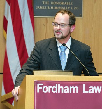 Sean J. Griffith, who has been the director of the Fordham Corporate Law Center since 2008, says there are great opportunities for lawyers who work in corporate compliance.  Photo by Ben Asen